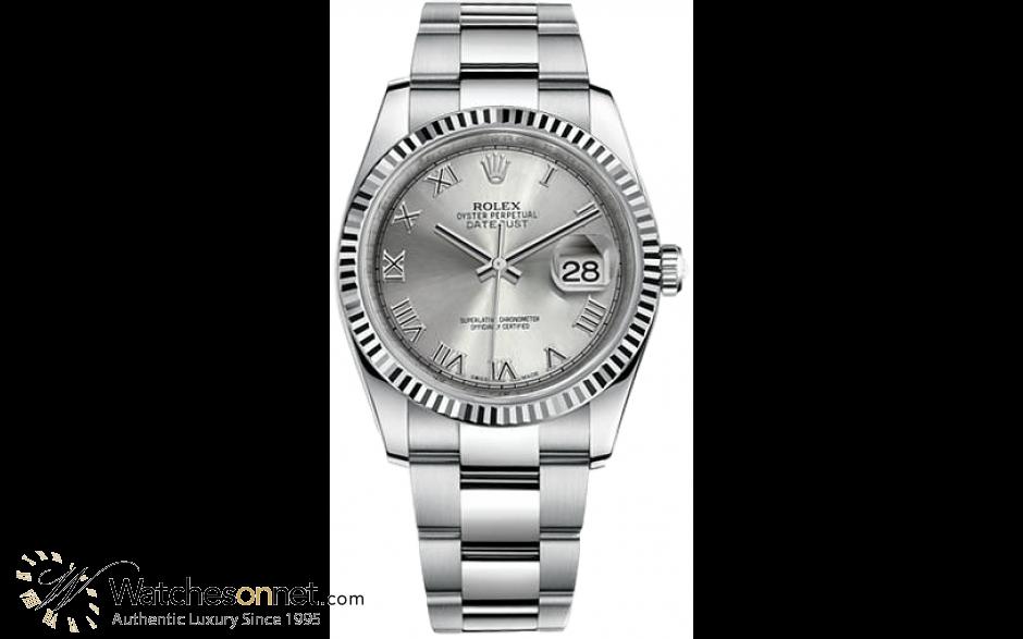 Rolex DateJust 36  Automatic Women's Watch, Steel & 18K White Gold, Rhodium Dial, 116234-RHODIUM