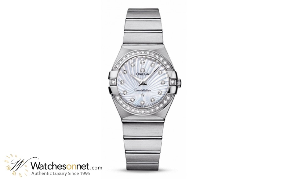 Omega Constellation  Quartz Women's Watch, Stainless Steel, Mother Of Pearl & Diamonds Dial, 123.15.27.60.55.002