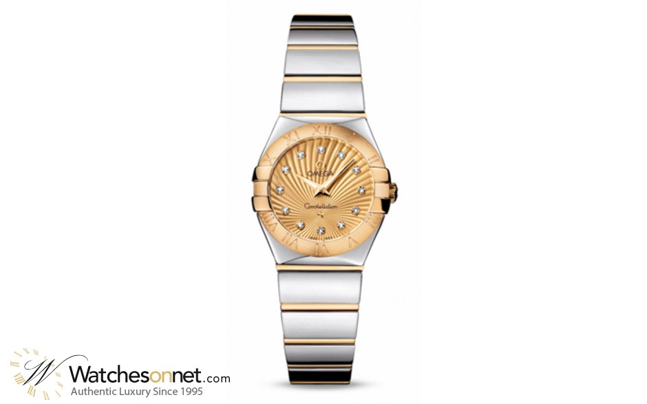 Omega Constellation  Quartz Small Women's Watch, 18K Yellow Gold, Champagne & Diamonds Dial, 123.20.24.60.58.002