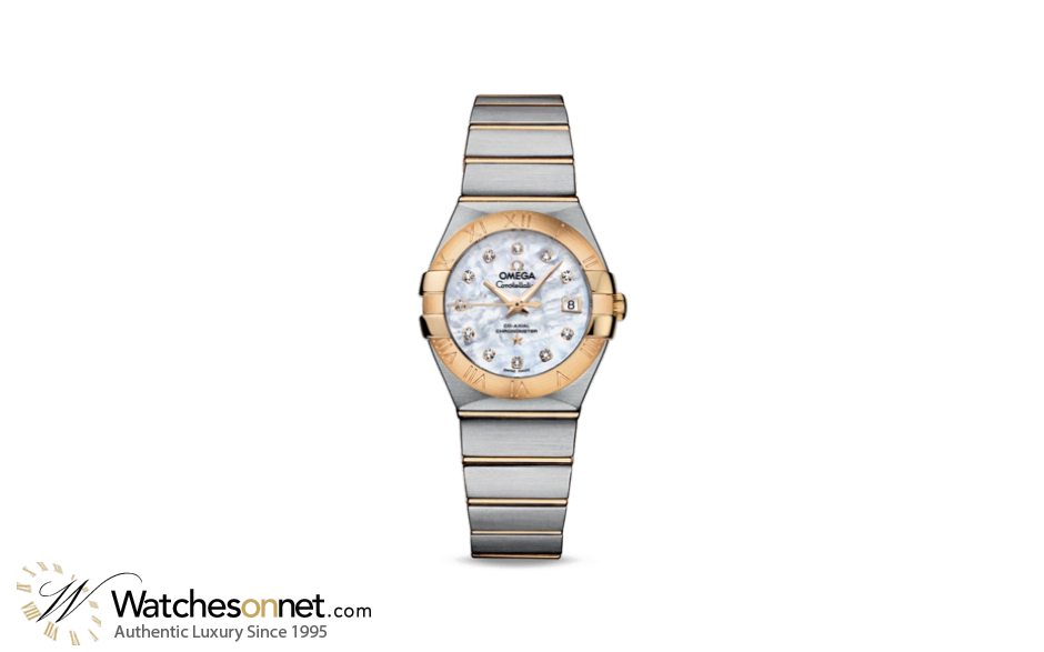 Omega Constellation  Automatic Women's Watch, 18K Yellow Gold, Mother Of Pearl & Diamonds Dial, 123.20.27.20.55.003