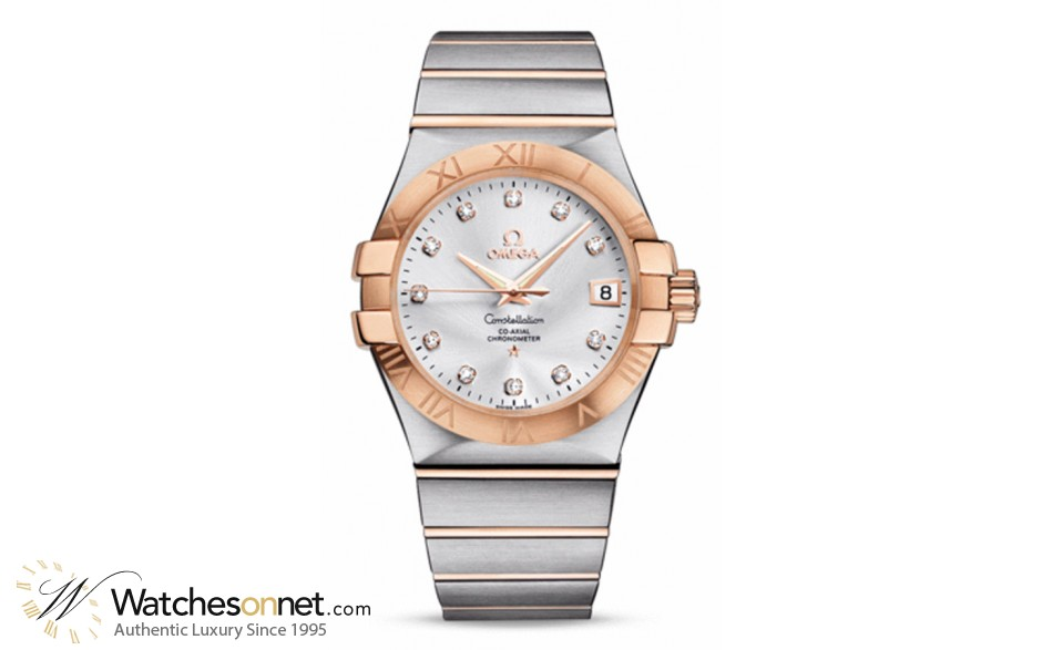 Omega Constellation  Automatic Men's Watch, 18K Rose Gold, Silver & Diamonds Dial, 123.20.35.20.52.001