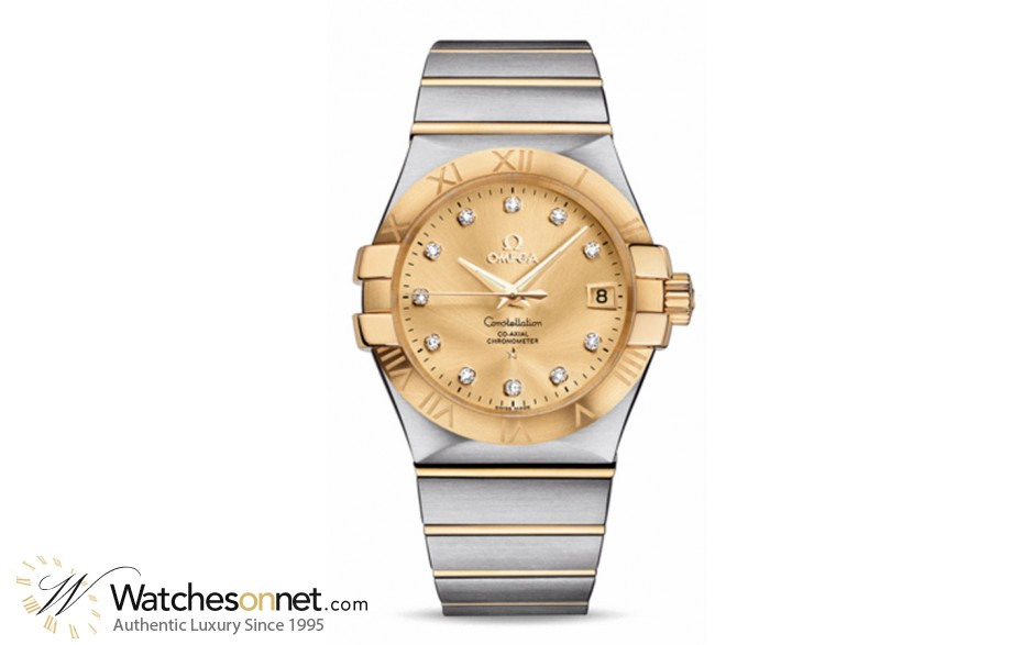 Omega Constellation  Automatic Men's Watch, 18K Yellow Gold, Champagne & Diamonds Dial, 123.20.35.20.58.001