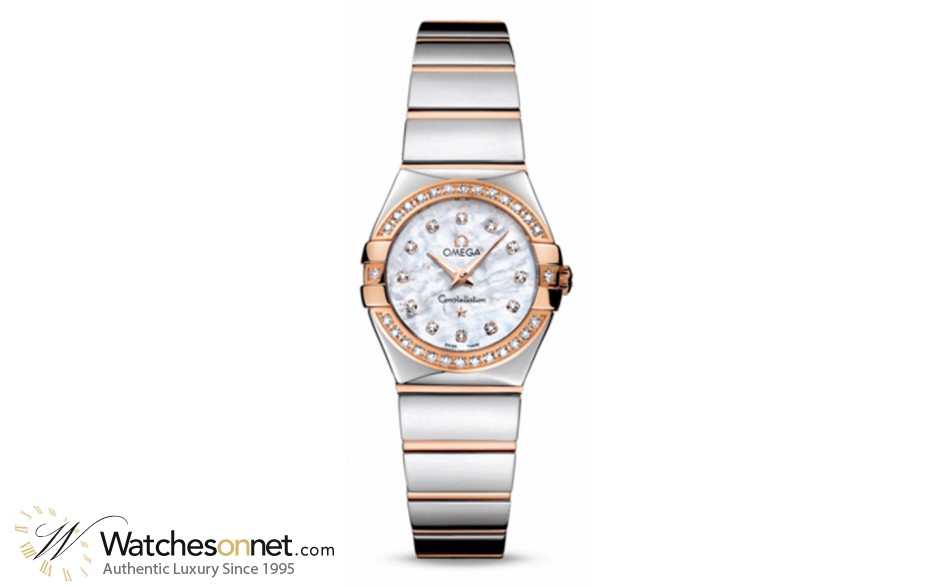 Omega Constellation  Quartz Small Women's Watch, 18K Rose Gold, Mother Of Pearl & Diamonds Dial, 123.25.24.60.55.005
