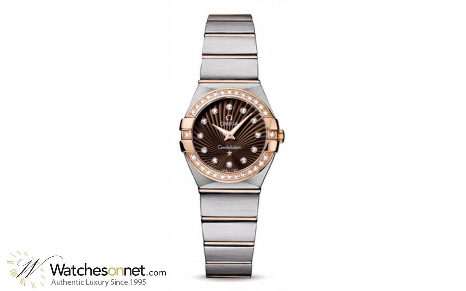 Omega Constellation  Quartz Small Women's Watch, 18K Rose Gold, Brown & Diamonds Dial, 123.25.24.60.63.001
