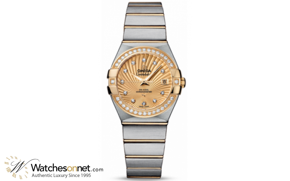 Omega Constellation  Automatic Women's Watch, 18K Yellow Gold, Champagne & Diamonds Dial, 123.25.27.20.58.001