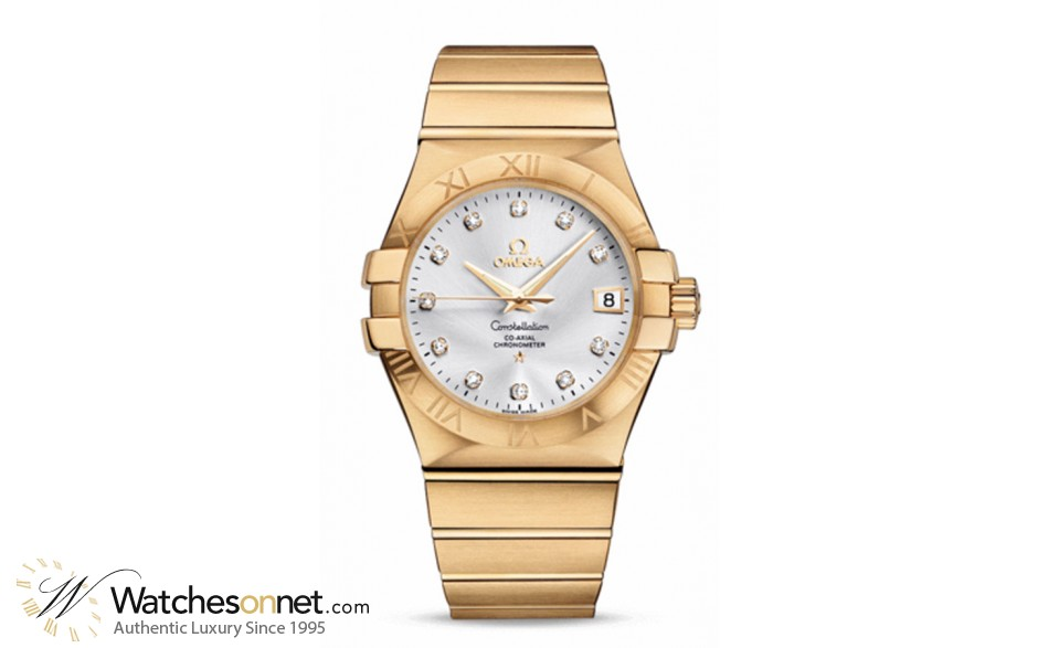 Omega Constellation  Automatic Men's Watch, 18K Yellow Gold, Silver & Diamonds Dial, 123.50.35.20.52.002