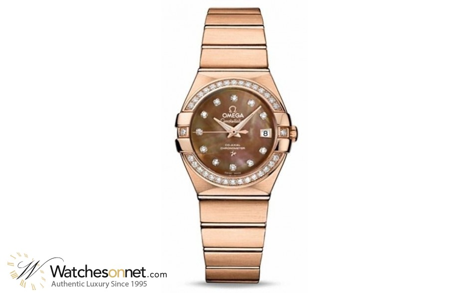 Omega Constellation  Automatic Women's Watch, 18K Rose Gold, Mother Of Pearl & Diamonds Dial, 123.55.27.20.57.001