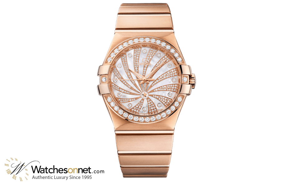 Omega Constellation  Automatic Men's Watch, 18K Rose Gold, Diamond Pave Dial, 123.55.35.20.55.002