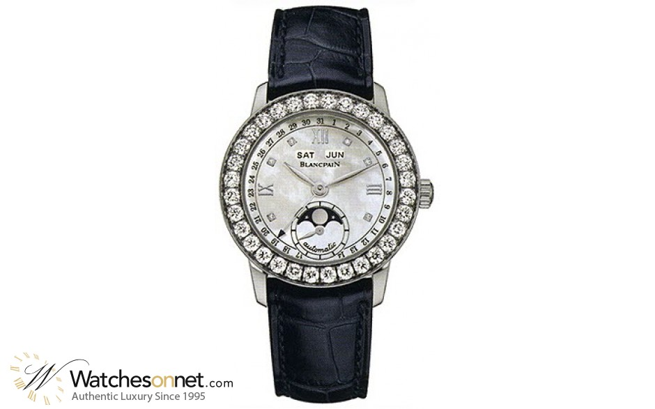Blancpain Leman  Automatic Women's Watch, 18K White Gold, Mother Of Pearl & Diamonds Dial, 2360-1991A-55B