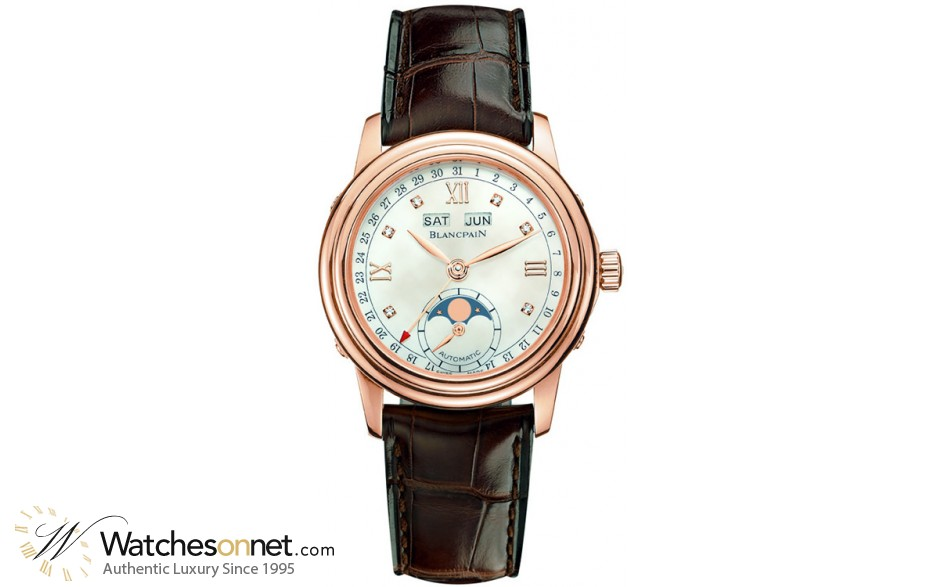 Blancpain Leman  Automatic Women's Watch, 18K Rose Gold, Mother Of Pearl & Diamonds Dial, 2360-3691A-55