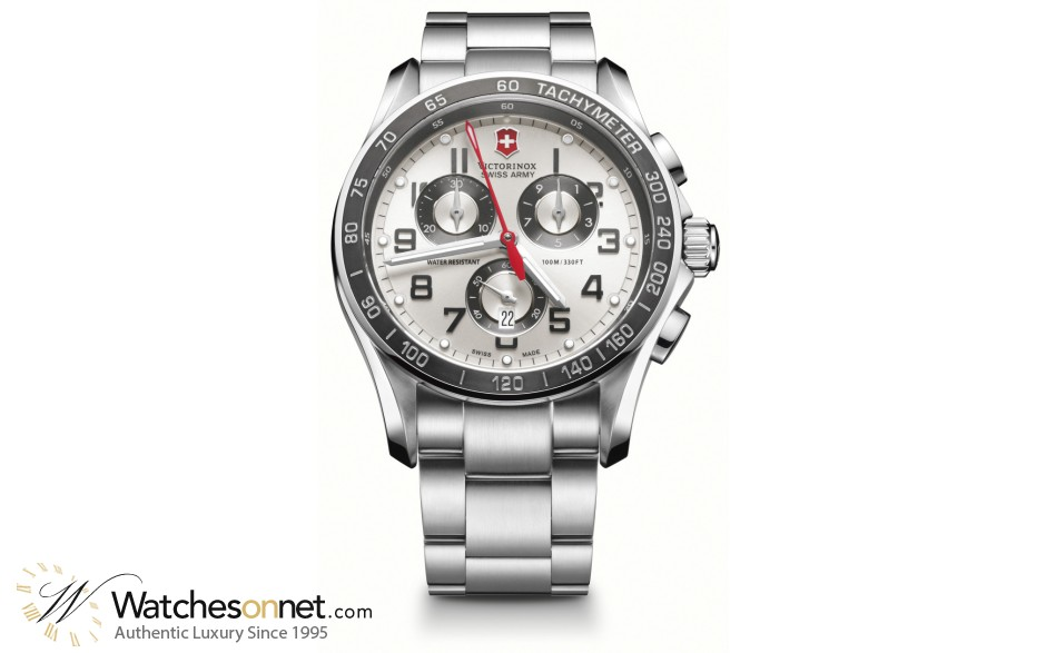 Victorinox Swiss Army Chrono Classic  Chronograph Quartz Men's Watch, Stainless Steel, Silver Dial, 241445