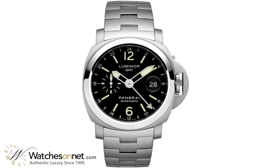 Panerai Luminor  Automatic GMT Men's Watch, Stainless Steel, Black Dial, PAM00297