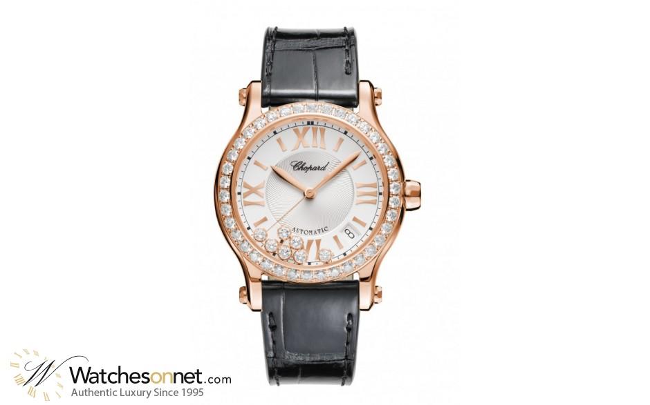 Chopard Happy Diamonds  Automatic Women's Watch, 18K Rose Gold, Silver Dial, 274808-5003
