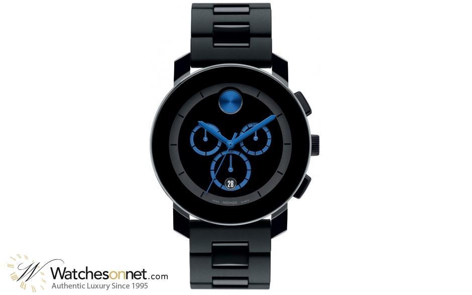 Movado Bold  Chronograph Quartz Men's Watch, Stainless Steel, Black Dial, 3600101