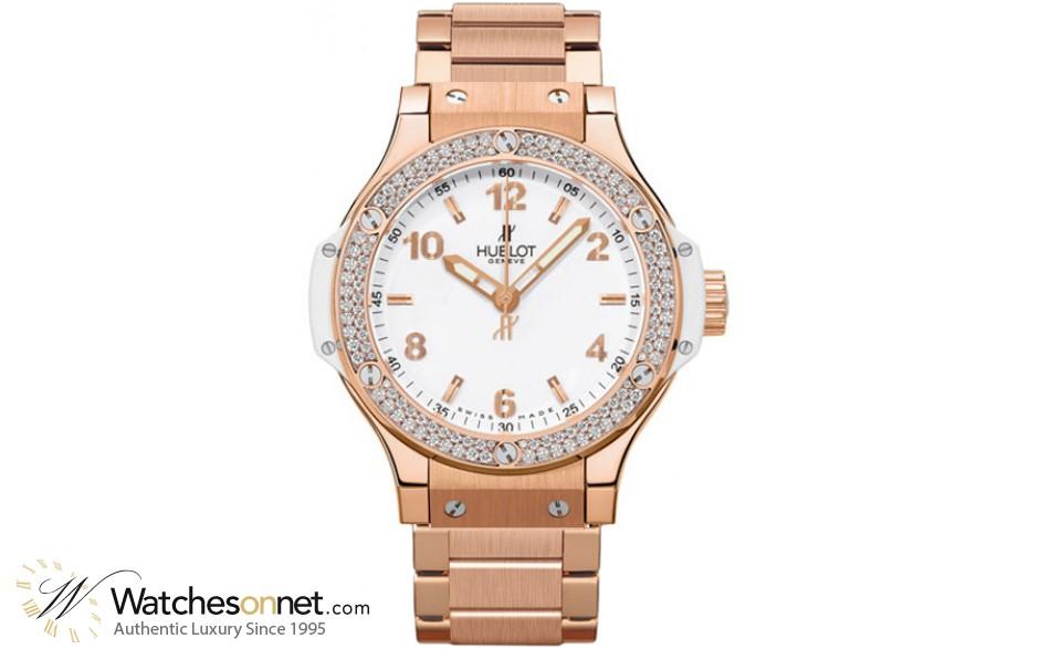Hublot Big Bang 38mm  Quartz Women's Watch, 18K Rose Gold, White Dial, 361.PE.2010.PE.1104