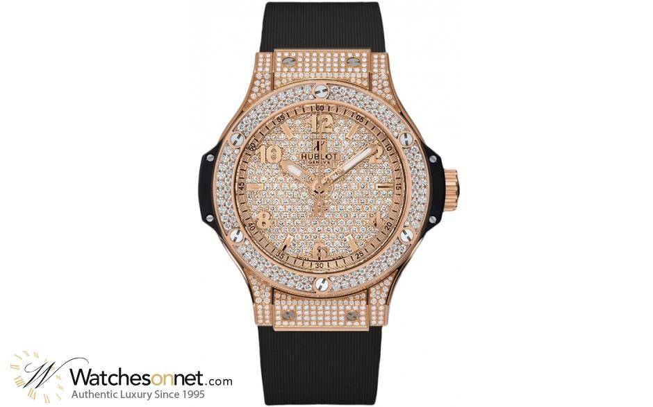 Hublot Big Bang 38mm  Quartz Women's Watch, 18K Rose Gold, Diamond Pave Dial, 361.PX.9010.RX.1704