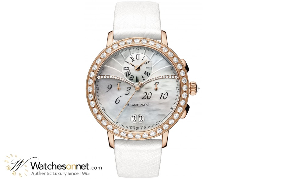 Blancpain Leman  Chronograph Flyback Women's Watch, 18K Rose Gold, Mother Of Pearl & Diamonds Dial, 3626-2954-58A