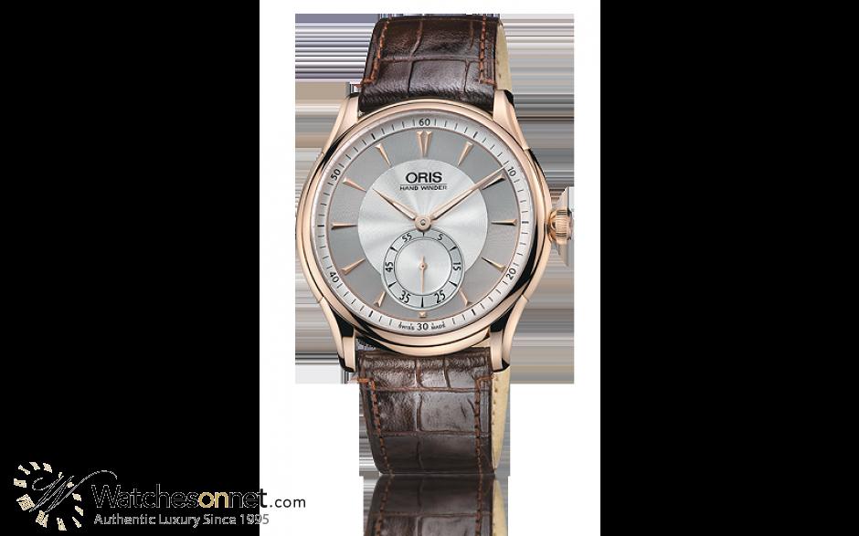 Oris Artelier  Mechanical Men's Watch, 18K Rose Gold, Silver Dial, 396-7580-6051-Set