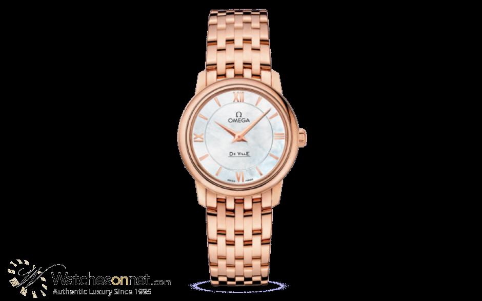 Omega De Ville  Quartz Women's Watch, 18K Rose Gold, White Mother Of Pearl Dial, 424.50.27.60.05.002
