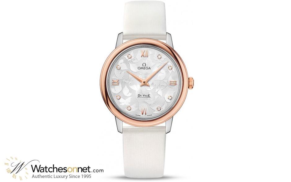 Omega De Ville  Quartz Women's Watch, Steel & 18K Rose Gold, Silver Dial, 424.22.33.60.52.001