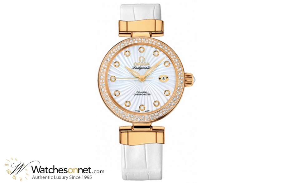 Omega De Ville Ladymatic  Automatic Women's Watch, 18K Yellow Gold, Mother Of Pearl & Diamonds Dial, 425.68.34.20.55.003