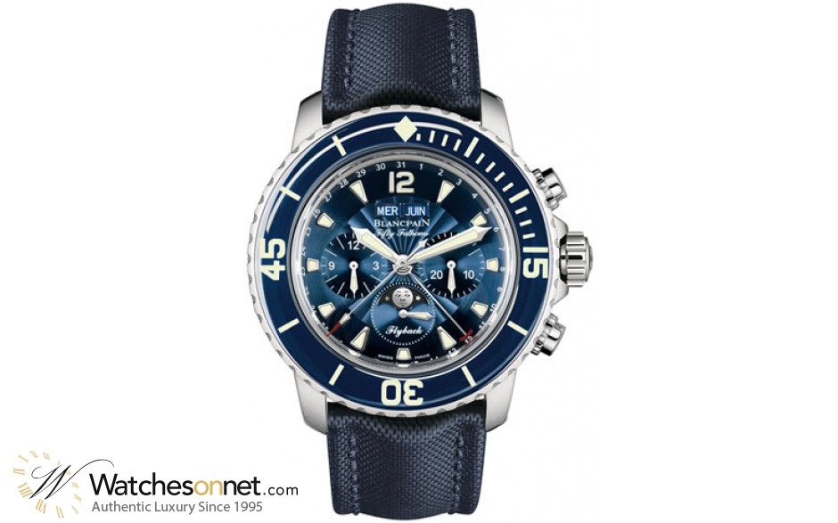 Blancpain Fifty Fathoms  Chronograph Flyback Men's Watch, Stainless Steel, Blue Dial, 5066F-1140-52B