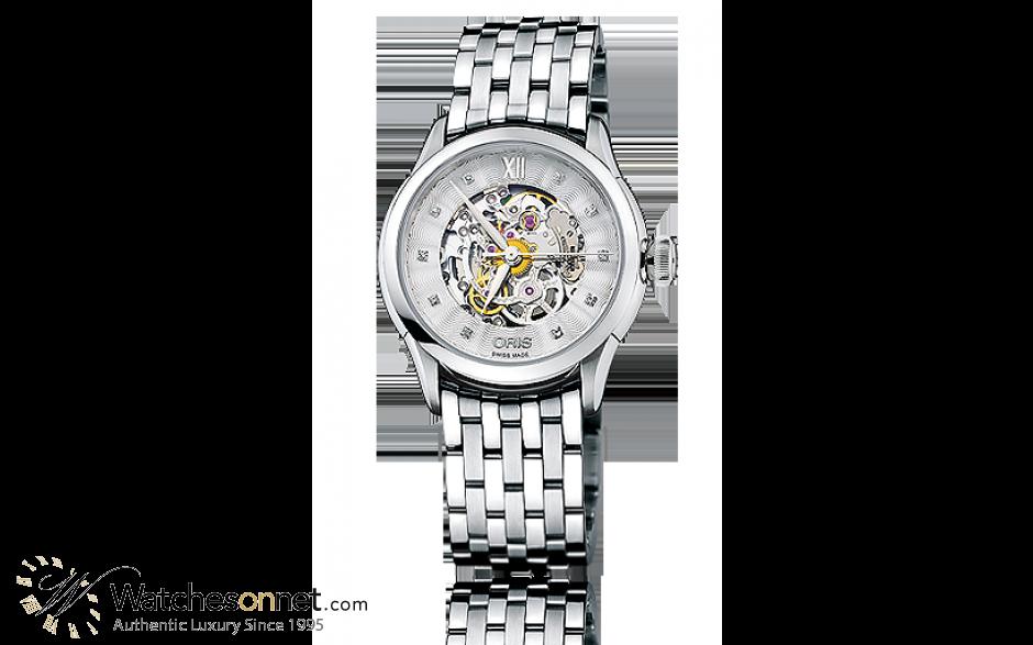 Oris Artelier  Automatic Women's Watch, Stainless Steel, Silver Dial, 560-7604-4019-07-8-16-73