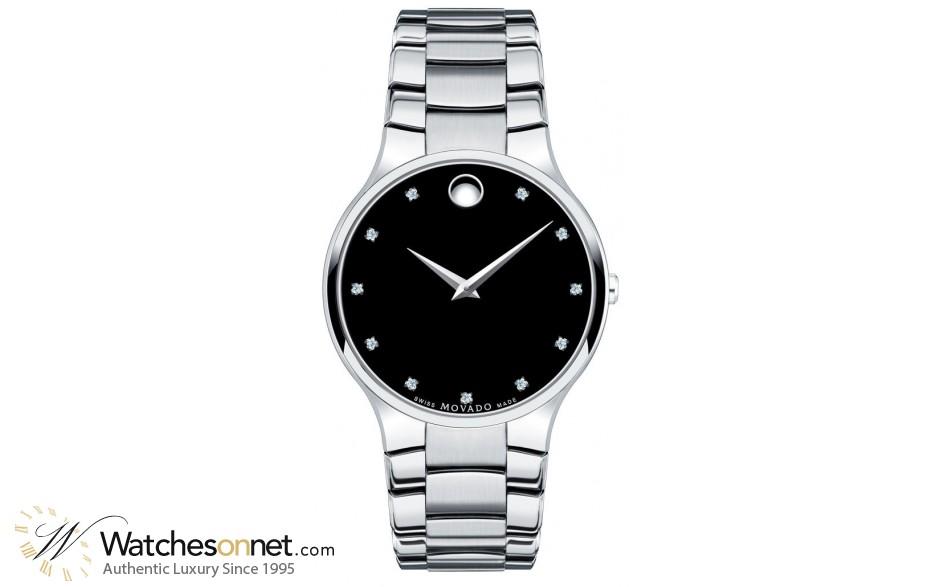 Movado Serio  Quartz Men's Watch, Stainless Steel, Black Dial, 606490