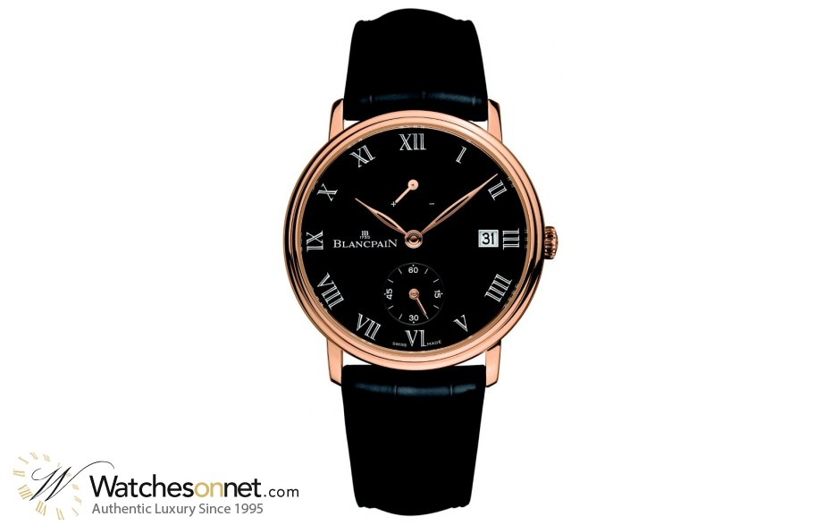 Blancpain Villeret  Manual Men's Watch, 18K Rose Gold, Black Dial, 6614-3637-55B
