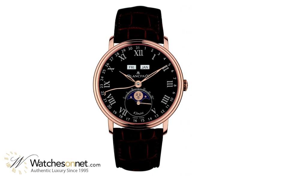 Blancpain Villeret  Automatic Men's Watch, 18K Rose Gold, Black Dial, 6639-3637-55B