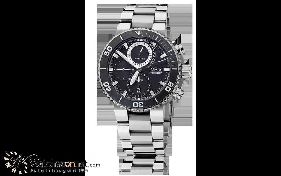 Oris   Chronograph Automatic Men's Watch, Titanium, Black Dial, 674-7655-7184-Set