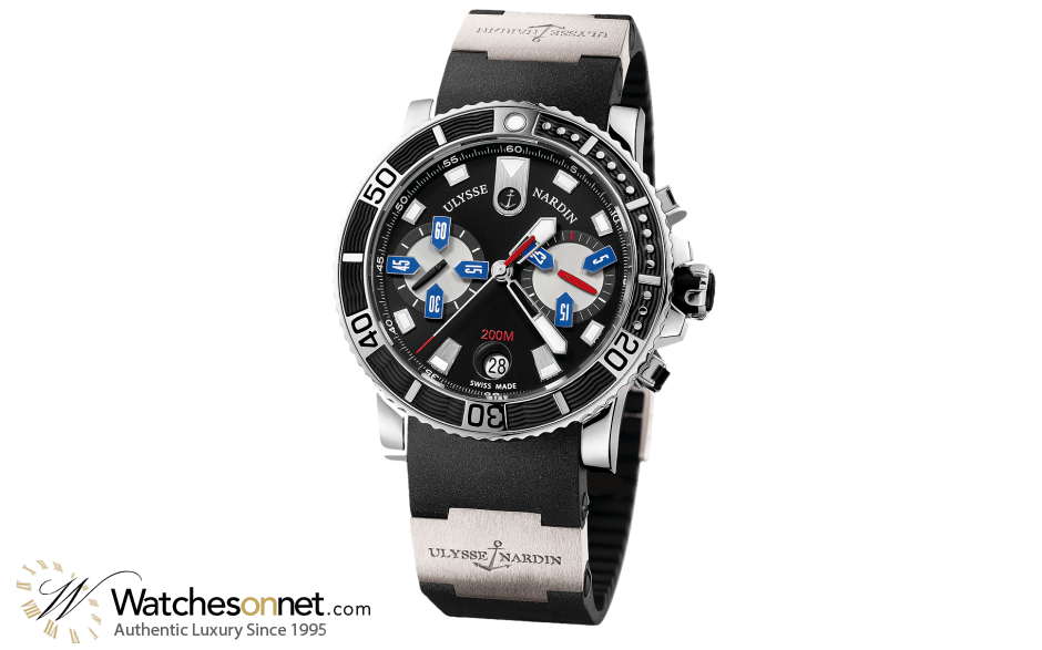 Ulysse Nardin Maxi Marine Diver  Chronograph Automatic Men's Watch, Stainless Steel, Black Dial, 8003-102-3/92