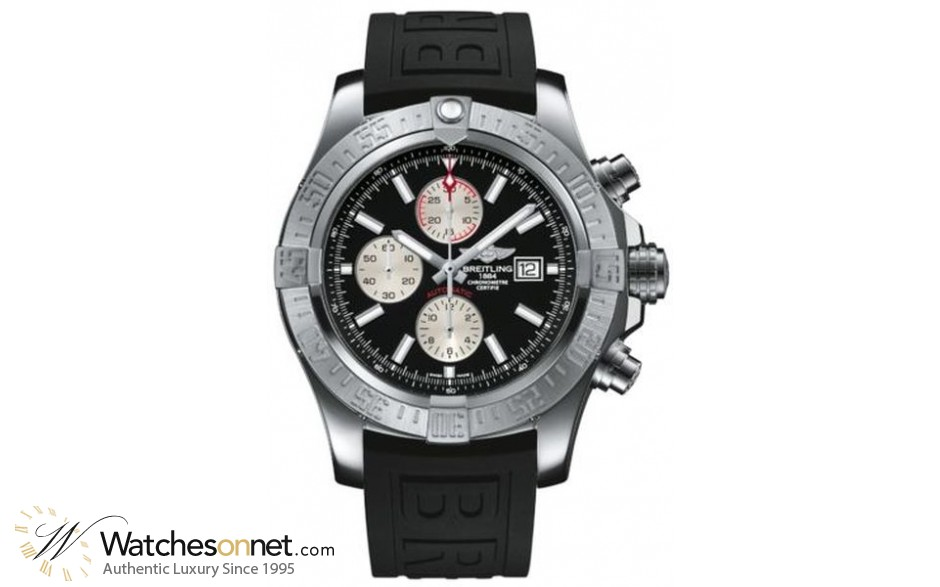 Breitling Super Avenger II  Automatic Men's Watch, Stainless Steel, Black Dial, A1337111.BC29.155S