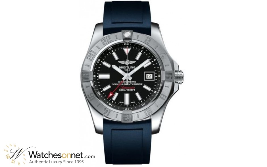 Breitling Avenger II GMT  Automatic Men's Watch, Stainless Steel, Black Dial, A3239011.BC35.145S
