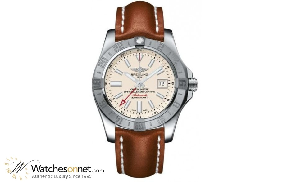 Breitling Avenger II GMT  Automatic Men's Watch, Stainless Steel, Silver Dial, A3239011.G778.434X