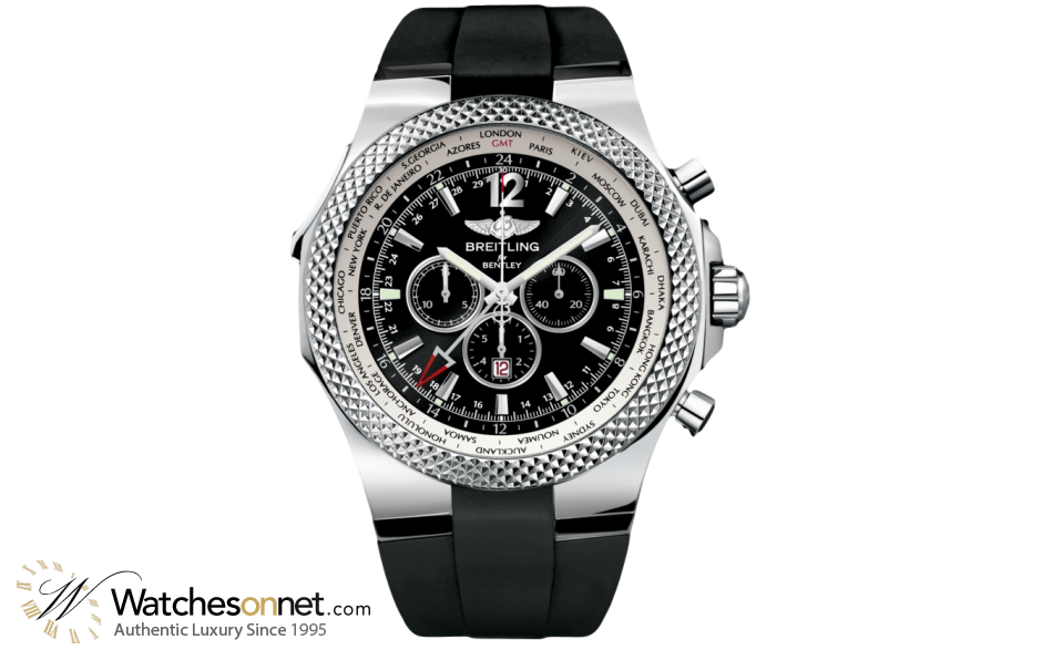 Breitling Bentley GMT  Chronograph Automatic Men's Watch, Stainless Steel, Black Dial, A4736212.B919.210S