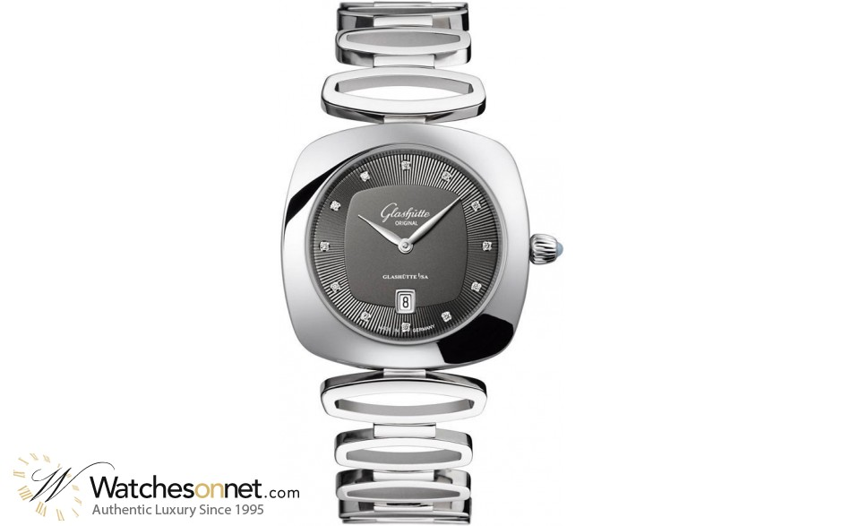 Glashutte Original Pavonina  Quartz Women's Watch, Stainless Steel, Grey & Diamonds Dial, 1-03-01-06-12-14