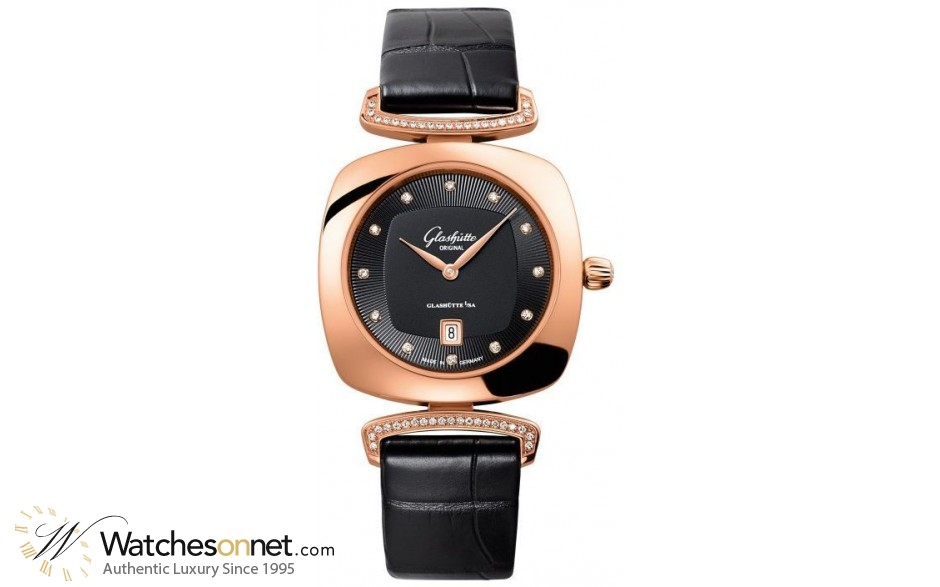 Glashutte Original Pavonina  Quartz Women's Watch, 18K Rose Gold, Black & Diamonds Dial, 1-03-01-28-05-02