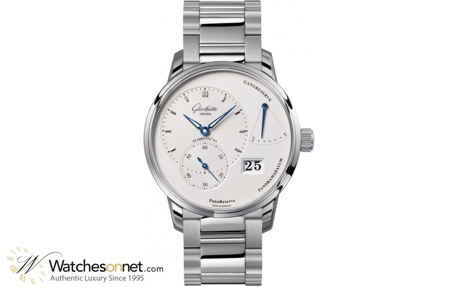 Glashutte Original PanoReserve  Automatic Men's Watch, Stainless Steel, Silver Dial, 1-65-01-22-12-24