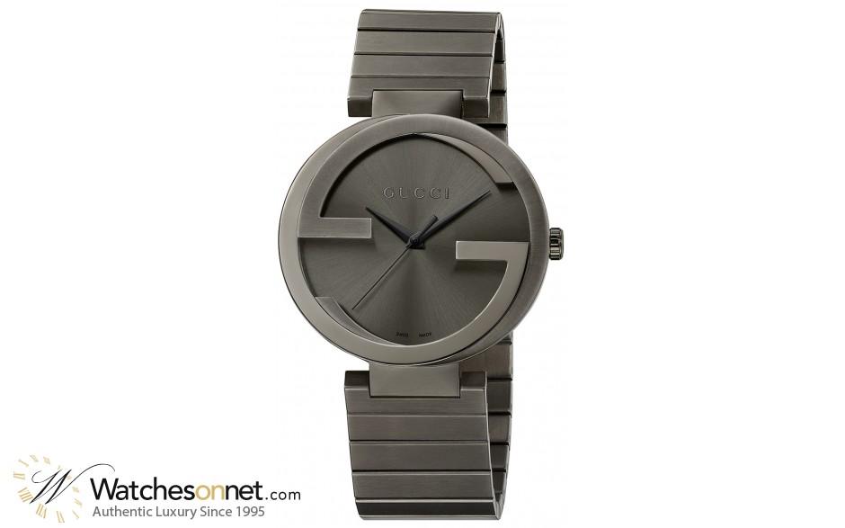 Gucci Interlocking  Quartz Unisex Watch, PVD, Grey Dial, YA133210