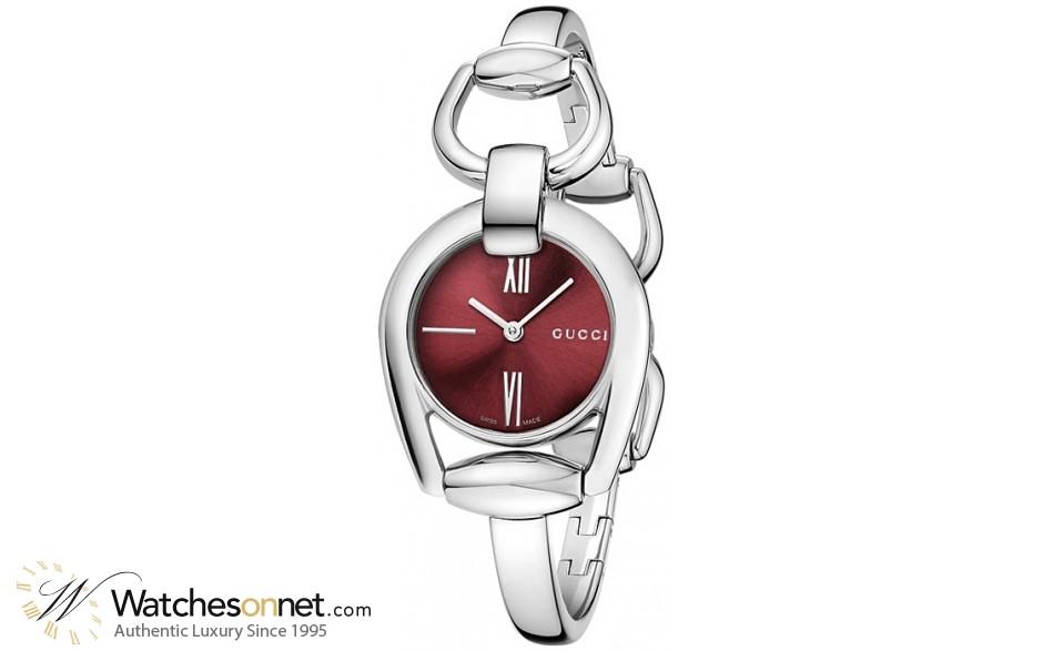Gucci Horsebit  Quartz Women's Watch, Stainless Steel, Red Dial, YA139502