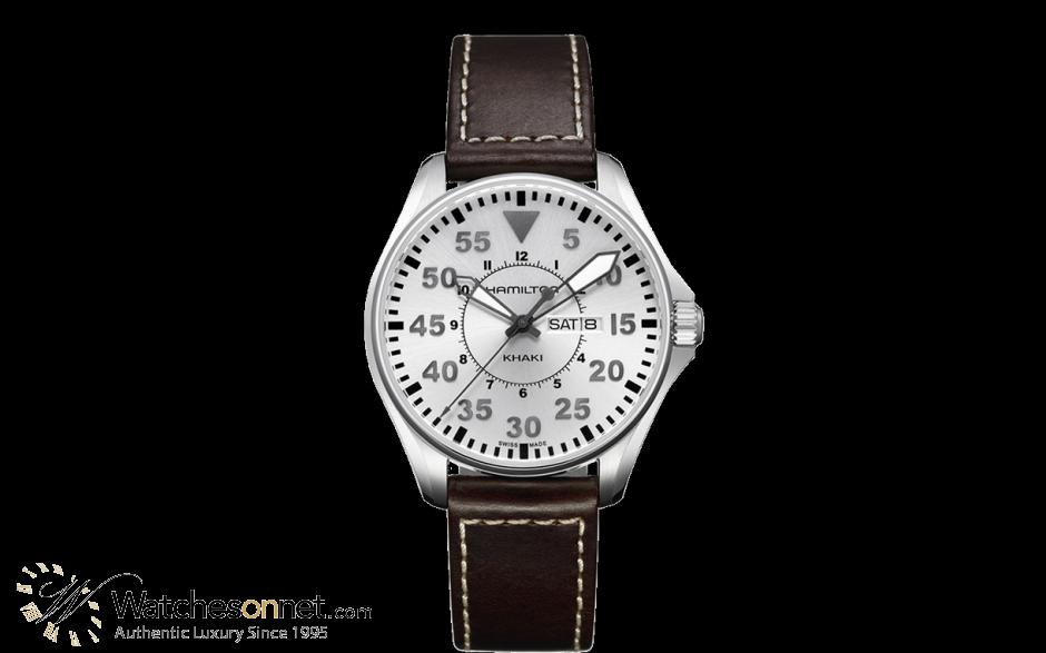 Hamilton Aviation  Quartz Men's Watch, Stainless Steel, Silver Dial, H64611555