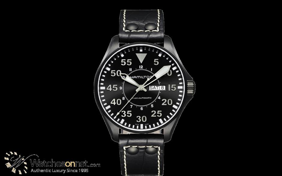 Hamilton Aviation  Automatic Men's Watch, PVD Black Steel, Black Dial, H64785835