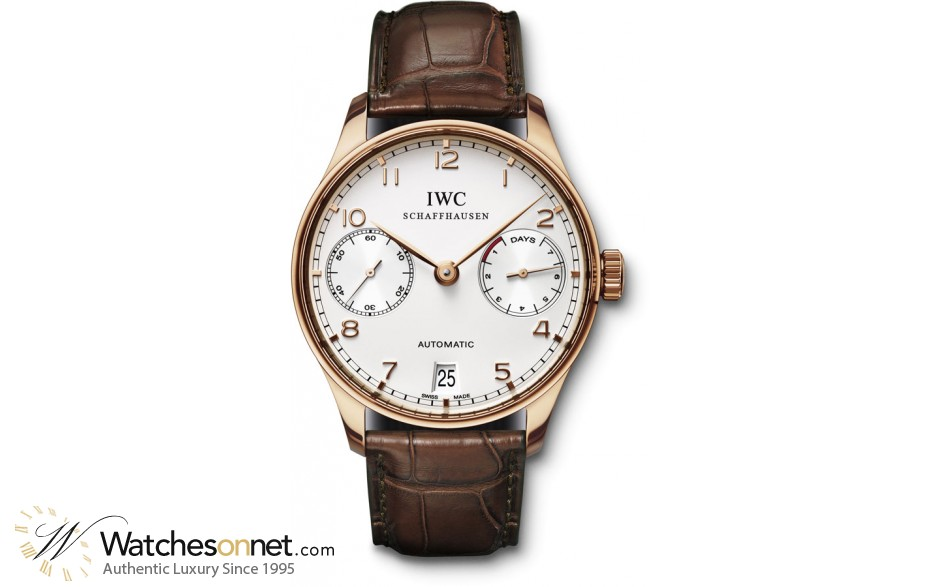 IWC Portuguese  Automatic Men's Watch, 18K Rose Gold, White Dial, IW500113