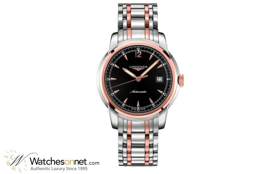 Longines Saint Imier  Automatic Men's Watch, Steel & 18K Rose Gold, Black Dial, L2.766.5.59.7