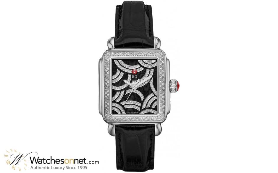 Michele Deco  Quartz Women's Watch, Stainless Steel, Black & Diamonds Dial, MWW06T000117