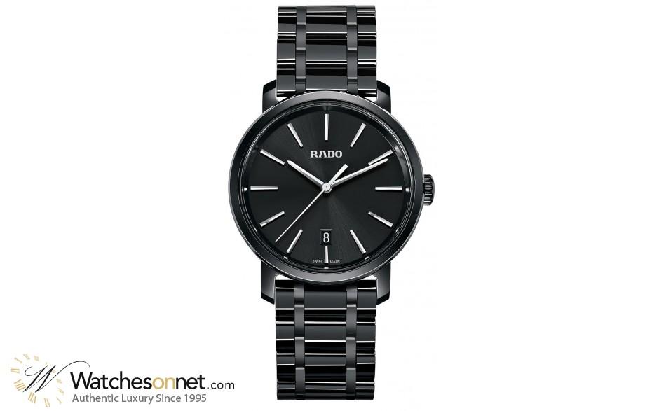 Rado Diamaster  Quartz Unisex Watch, Ceramic, Black Dial, R14066182