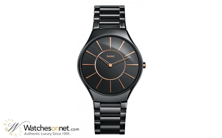 Rado True Thinline  Quartz Unisex Watch, Ceramic, Black Dial, R27741152