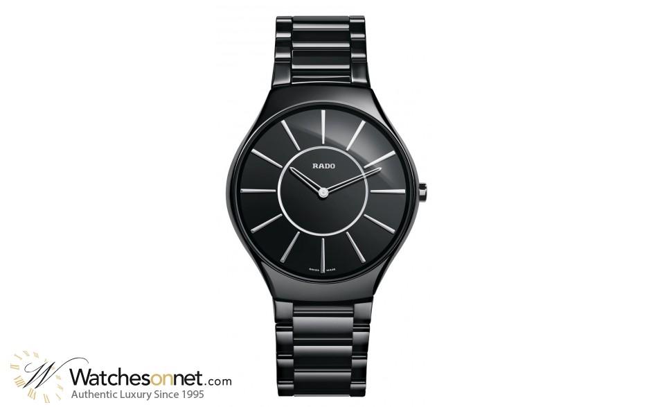 Rado True Thinline  Quartz Unisex Watch, Ceramic, Black Dial, R27741162
