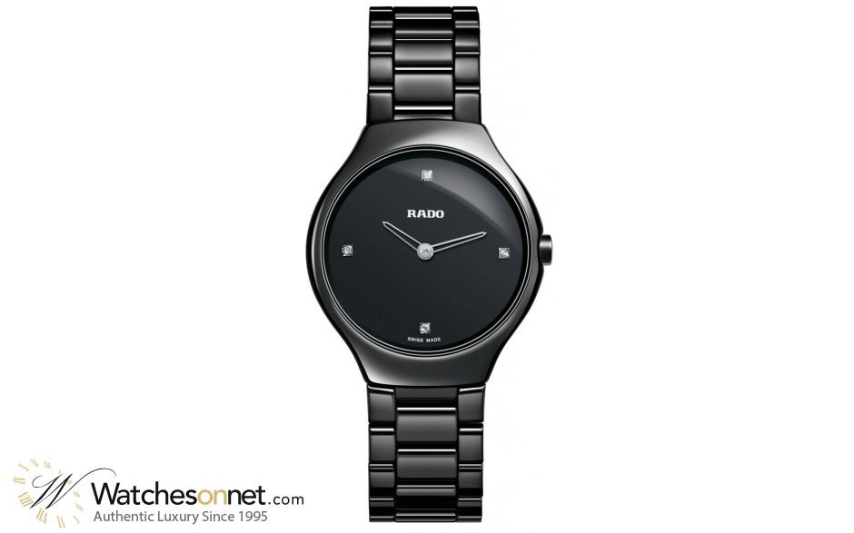 Rado True Thinline  Quartz Women's Watch, Ceramic, Black & Diamonds Dial, R27742712